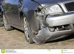 Front Of Silver Car Get Damaged By Crash Stock Photo