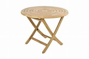 Table Pliante Ronde : table de jardin pliante et ronde 130 cm en bois massif haut de gamme la galerie du teck ~ Teatrodelosmanantiales.com Idées de Décoration