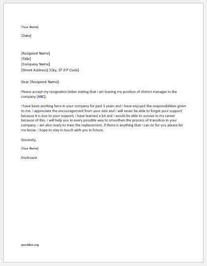 District Manager Resignation Letter   Word Document Templates
