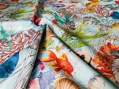 Fabric Coral Aqua Upholstery Sea Reef Curtain