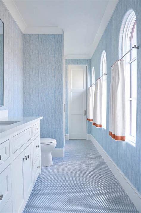 bathroom casement windows  sheer ruffled curtains transitional bathroom