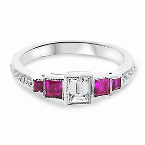 18ct white gold emerald cut diamond and square cut ruby With wedding rings square cut diamond