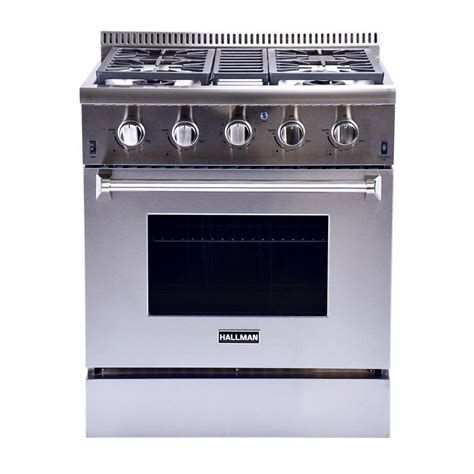 hallman 30 in 4 2 cu ft professional convection gas range in stainless steel liquid propane