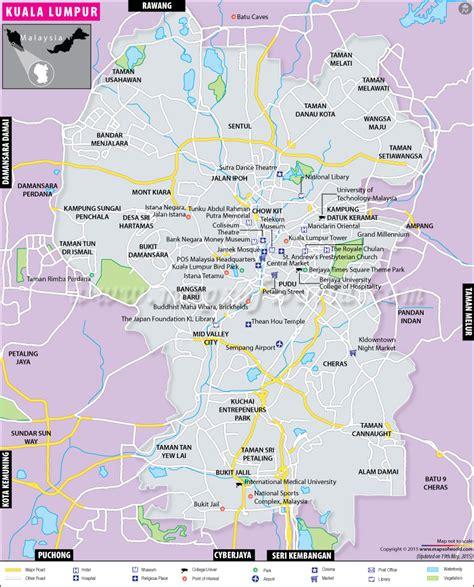 kuala lumpur map map  kuala lumpur city malaysia