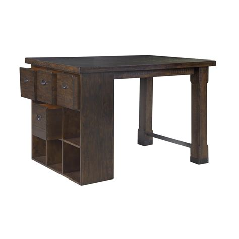 counter height desk with storage magnussen pine hill counter height storage desk in rustic
