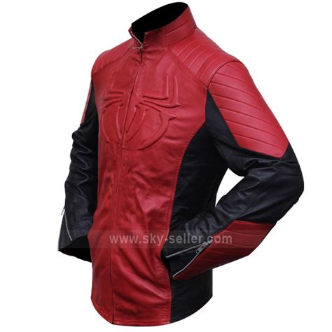 red leather motorcycle jacket the amazing spider man red black biker leather jacket