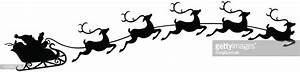 Santa And Sleigh With Flying Reindeer Vector Art | Getty ...