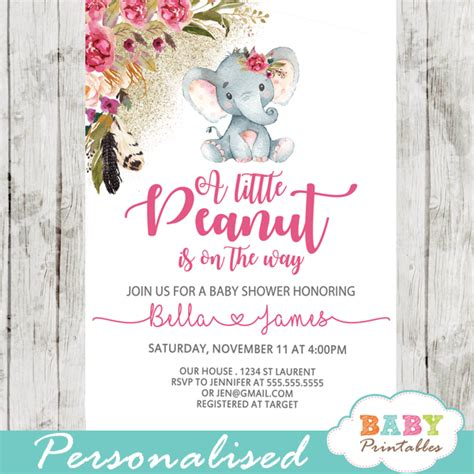 pink baby shoes boho floral elephant baby shower invitations d430