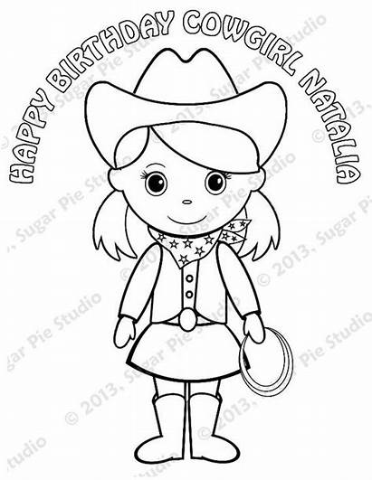 Cowgirl Coloring Pages Printable Pigtails Birthday Personalized