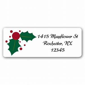 holly stripes christmas return address labels paperstyle With christmas return address stickers