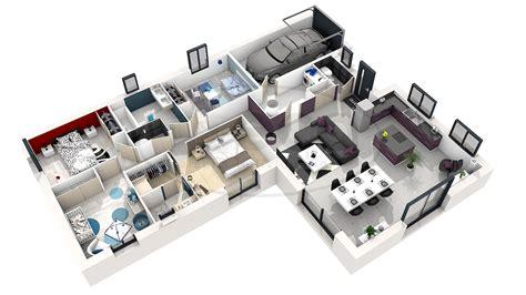 chambre 3d plan de maison moderne 3 chambres 3d maison moderne