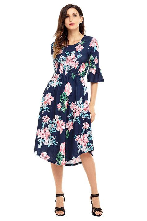 sleeve floral midi dress us 7 92 navy blue 3 4 bell sleeve floral midi dress