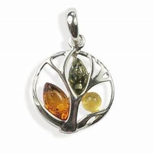 pendentif ambre et argent arbre multicolore With ambre bijoux