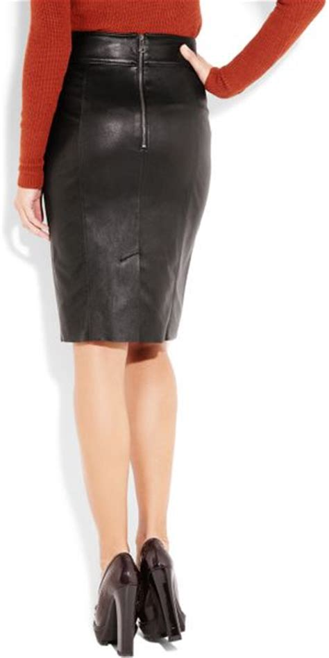 burberry stretch leather pencil skirt  black lyst