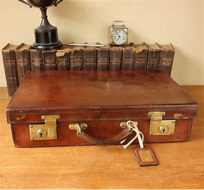 Suitcase Leather Brass Case