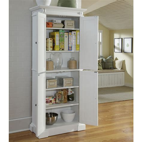 White Stained Wooden Ikea Cupboard For Kitchen Pantry