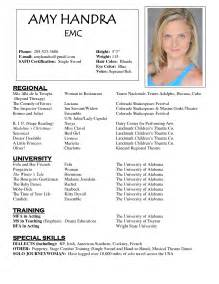 Actor Resumes Exles by Acting Resume Sle Free Http Www Resumecareer Info
