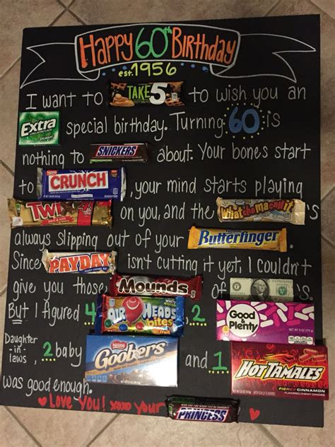 dads  birthday candy board pparty tricks ideas