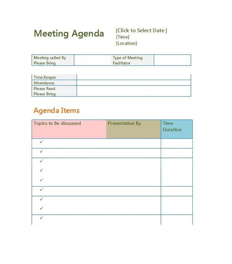 Time Agenda Template Word by 51 Effective Meeting Agenda Templates Free Template