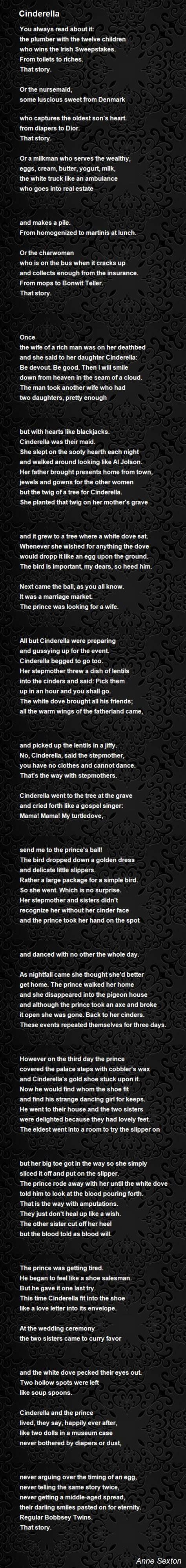 cinderella poem  anne sexton poem hunter