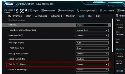 cpu fan error press f1 to continue asus cpu fan error press f1 to resume 메시지 와 대응책은 st스토리