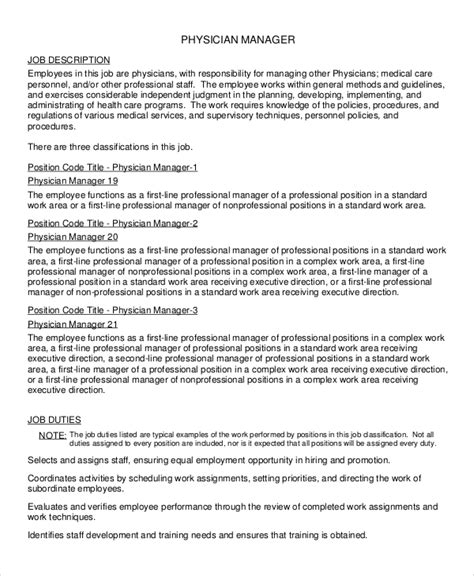 There are two types of insurance advisors, one who works with the corporate companies to develop health and insurance plans as well as risk. FREE 10+ Sample Physician Job Description Templates in PDF | MS Word