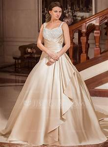 ball gown sweetheart court train satin wedding dress with With cascading ruffles wedding dress