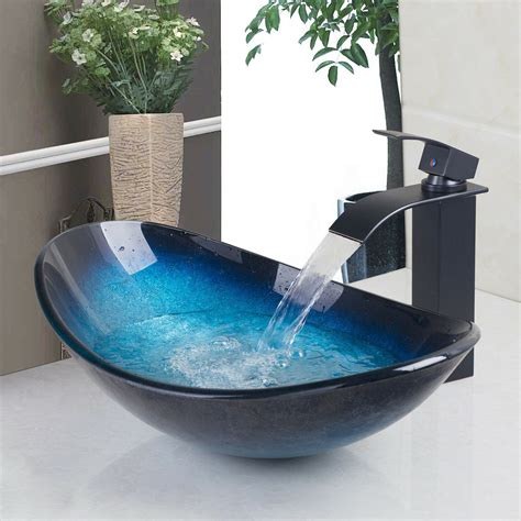 Bathroom Basin Sink by Us Oval Tempered Glass Bathroom Vessel Sink Washroom Blue