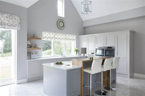 White Kitchen Island Breakfast Bar - classic style inframe painted white and grey kitchen tipperary