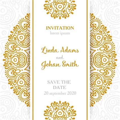 Vintage wedding invitation with mandala Vector Free Download