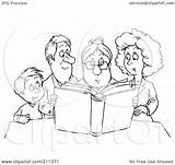 Outline Coloring Clipart Story Reading Granny Royalty Illustration Rf Bannykh Alex sketch template