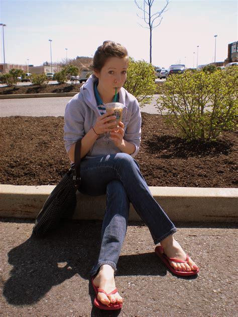 Girls Wearing Jeans Flip Flops