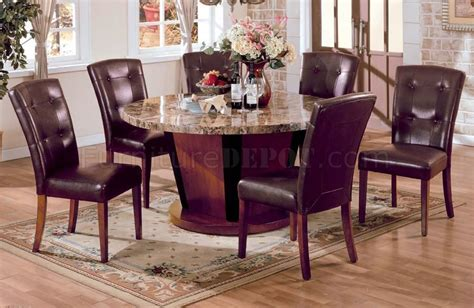 5 pc genuine marble top dining table with 4 side chairs