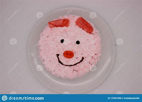 pink cake pigs face stock photo image  background