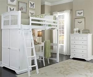 Walnut, Street, White, Locker, Twin, Loft, Bed, With, Desk, 8060nd, Ne, Kids