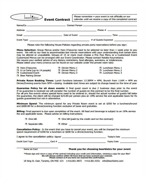 event contract template 11 event contract templates free sle exle format free premium templates