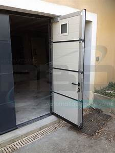 porte de garage sectionnelle sur mesure avec portillon With porte de garage avec portillon integre