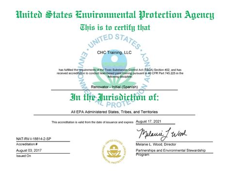 epa certification federal state approvals  licenses