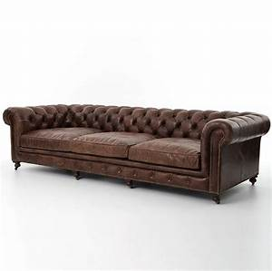 conrad 118quot vintage cigar leather chesterfield sofa zin home With chesterfield leather sofa