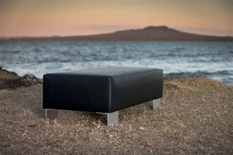 ottoman with metal legs modern black leather ottoman furniture with metal legs