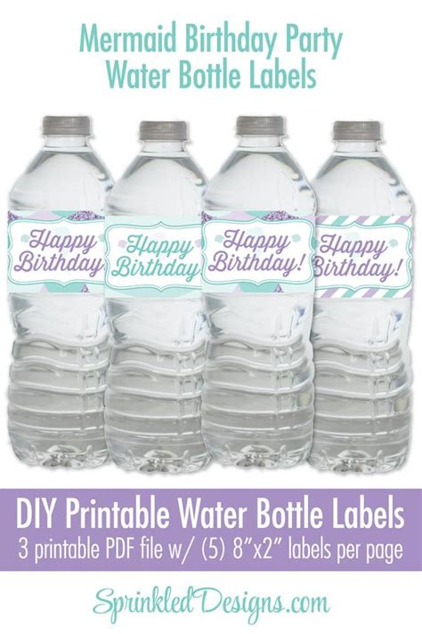 mermaid party decorations printable water bottle labels