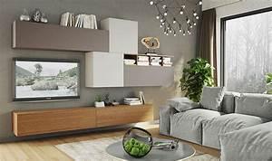Meuble De Tele Design : mobilier suspendu de salon meuble t l design taupe gris et ch ne ~ Teatrodelosmanantiales.com Idées de Décoration