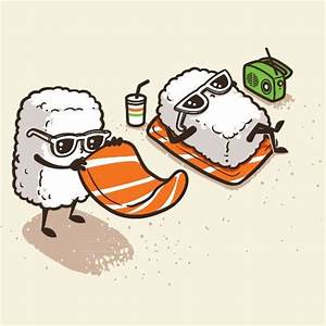"""Summer Sushi"" Funny Cartoon Sushi Sunbathing on Beach ..."