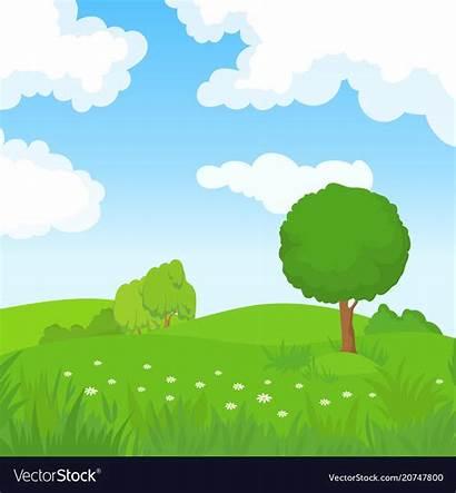 Cartoon Trees Landscape Summer Vector Background Park