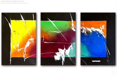 peinture pour chambre à coucher triptyque contemporain panoramique multicolore tendance