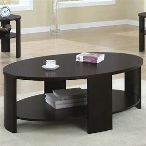Contemporary oval cocktail table in cherry contemporary for Modern cherry coffee table