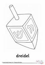 Dreidel Colouring Hanukkah sketch template