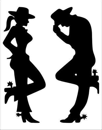 cowgirl  cowboy silhouette black decal nostalgia