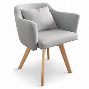 Chaise fauteuil scandinave lago tissu gris coin du design for Fauteuil chaise