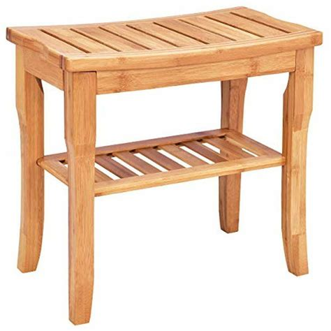 teak solid wood shower bench shelf seat chair spa indoor